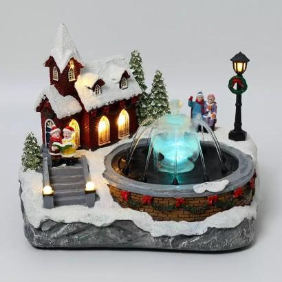 Juleby med fontene
